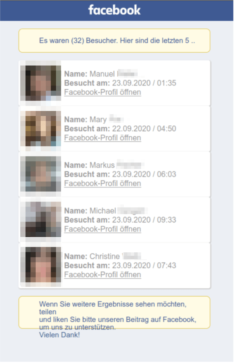 Facebook scam list of fake profile views