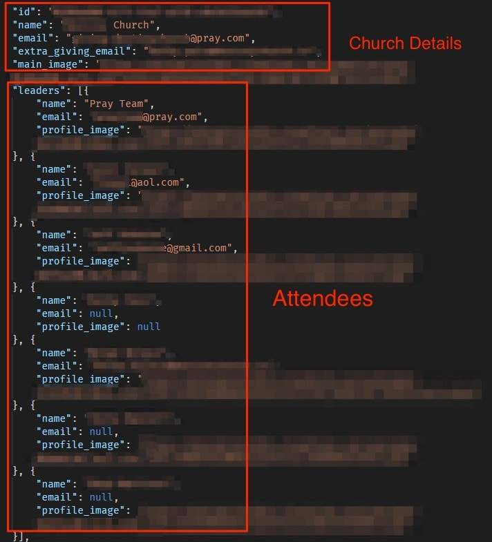 Pray App leak Church Attendees