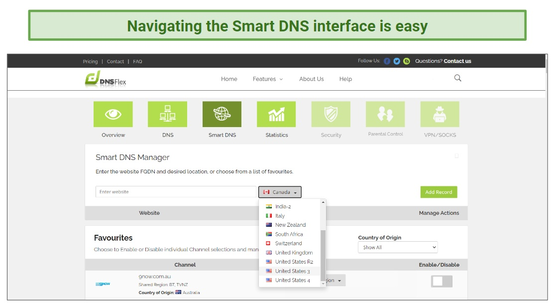 Smart DNS interface DNSFlex.