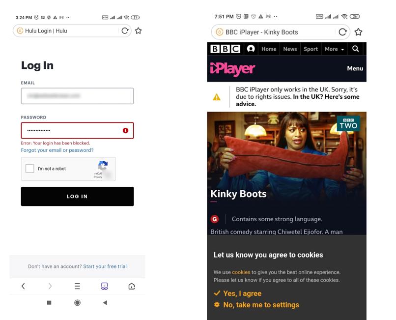 A screenshot of Hulu and iPlayer blocking Thunder VPN