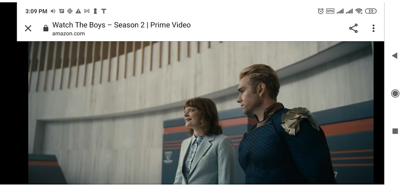 A screenshot of Amazon Prime Video unblocked by Thunder VPN