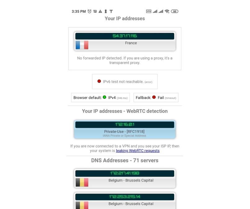 A screenshot of Thunder VPN using virtual servers