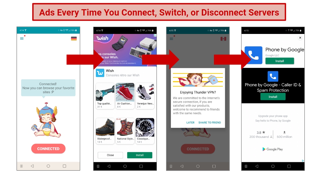 A screenshot of the ads shown on Thunder VPN when switching, connecting, or disconnecting from servers.