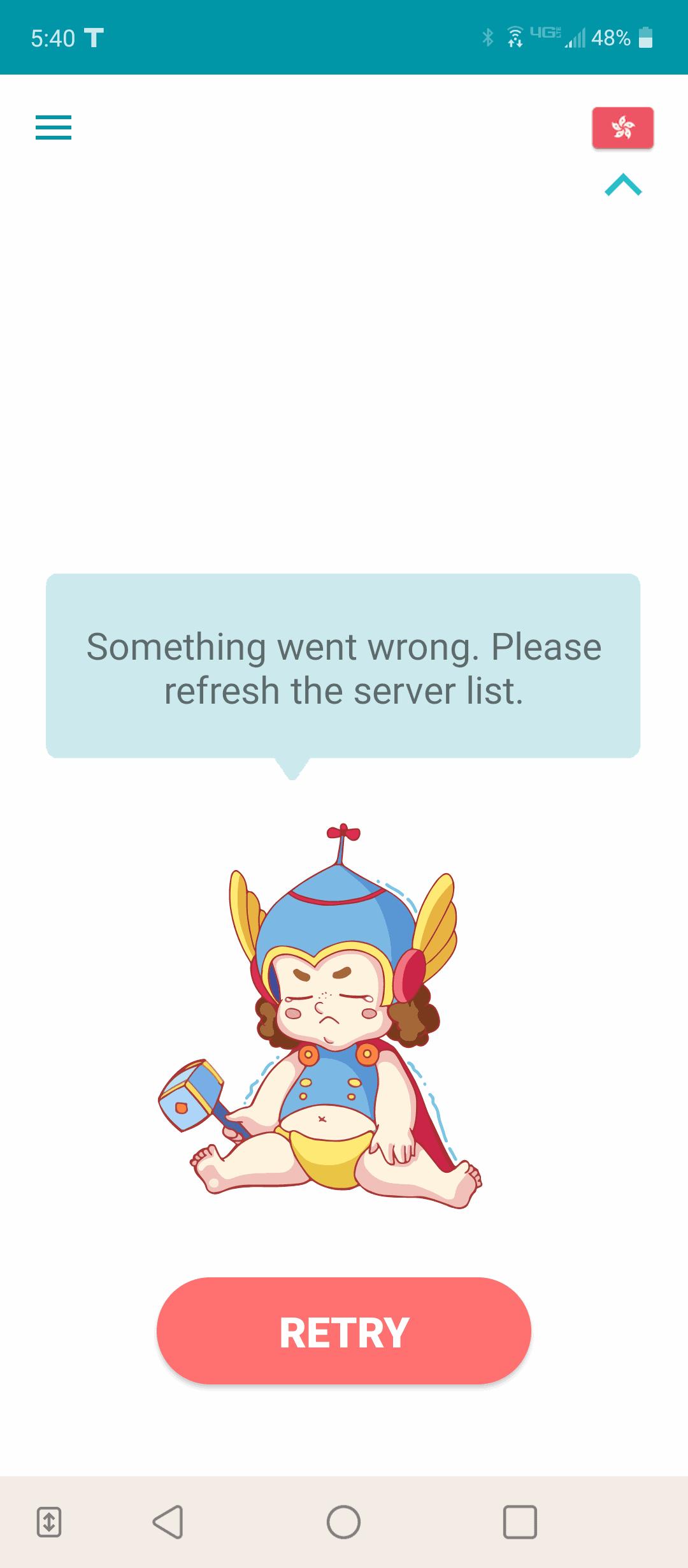 Hong Kong server failure