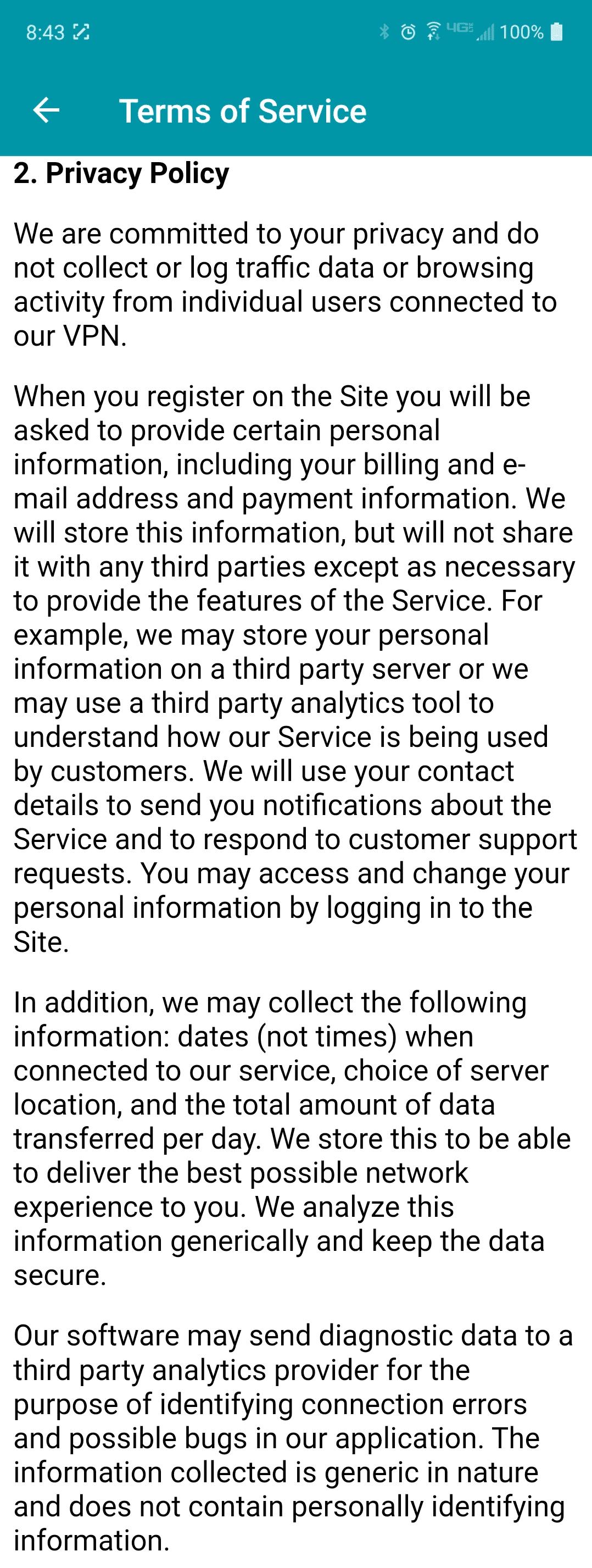 Thunder VPN privacy policy