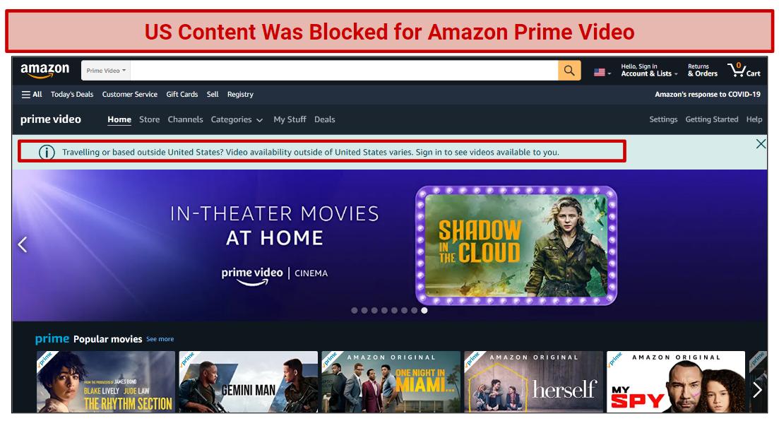 A screenshot of an error message for Hoxx VPN Amazon Prime Video access.