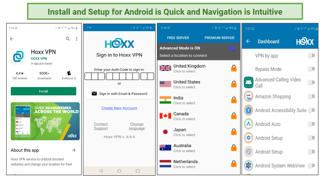 A screenshot of the various stages of install and setup for Hoxx VPN.