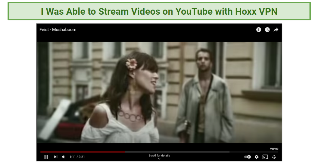 A screenshot of Hoxx VPN allowing access to YouTube.