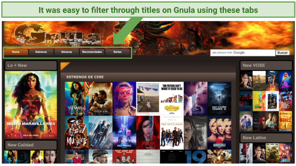 Filtering through titles on Gnula using tabs