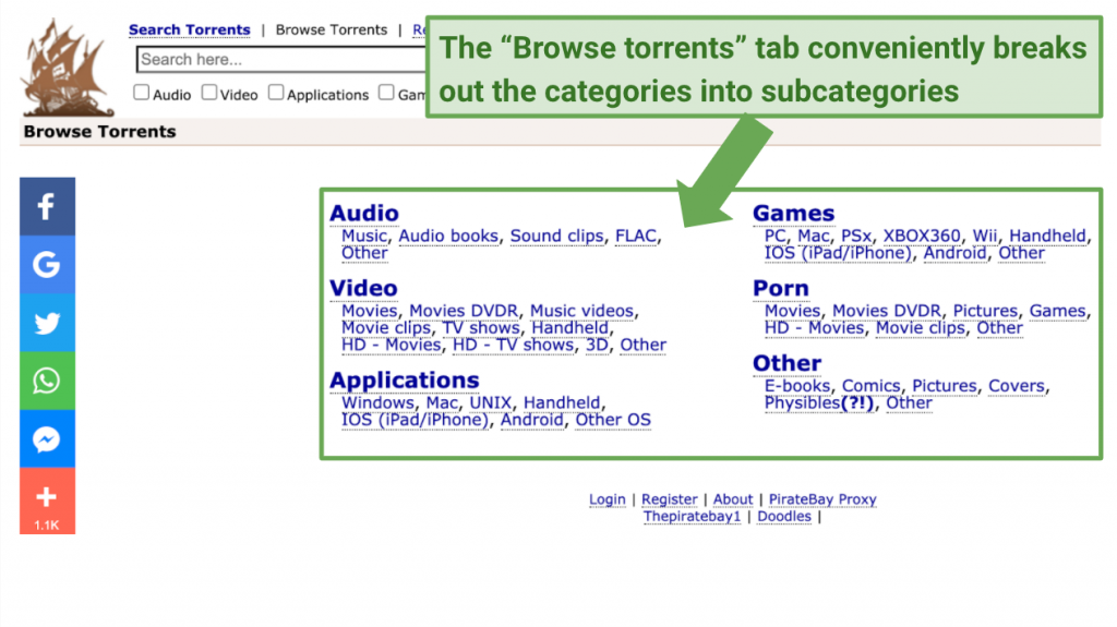 Break out categories into subcategories with Browse Torrents tab