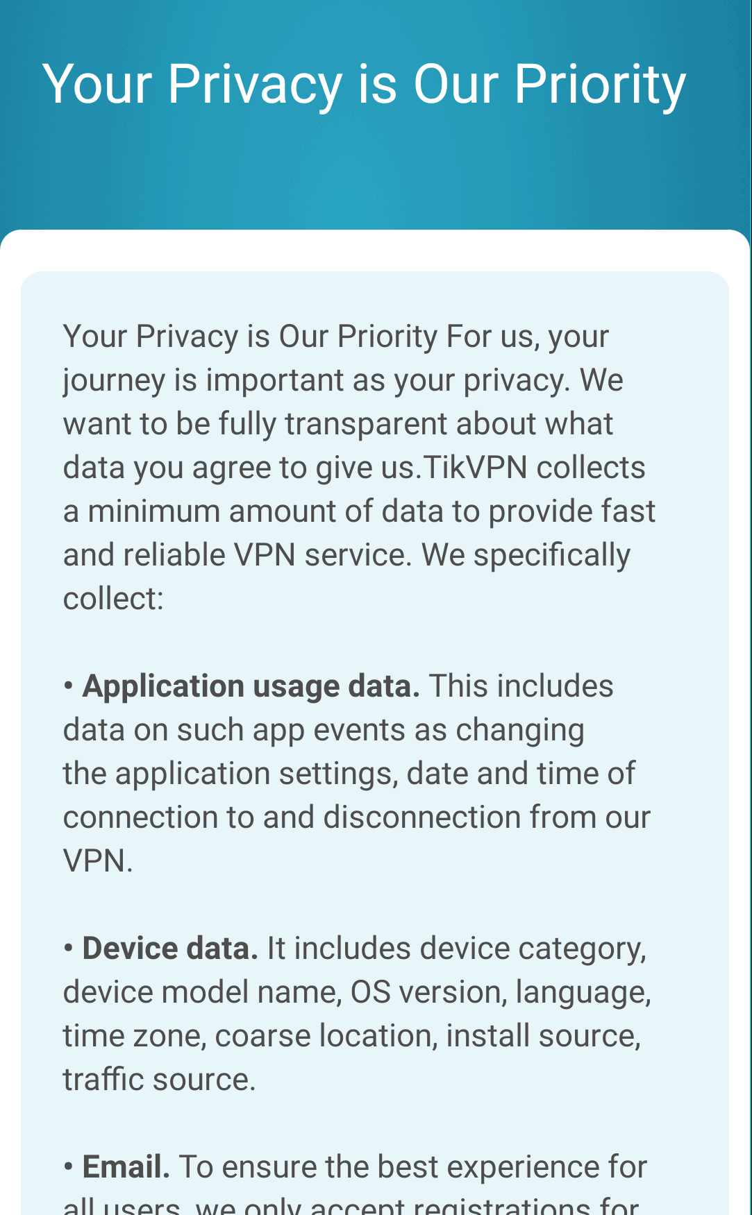 TikVPN privacy policy