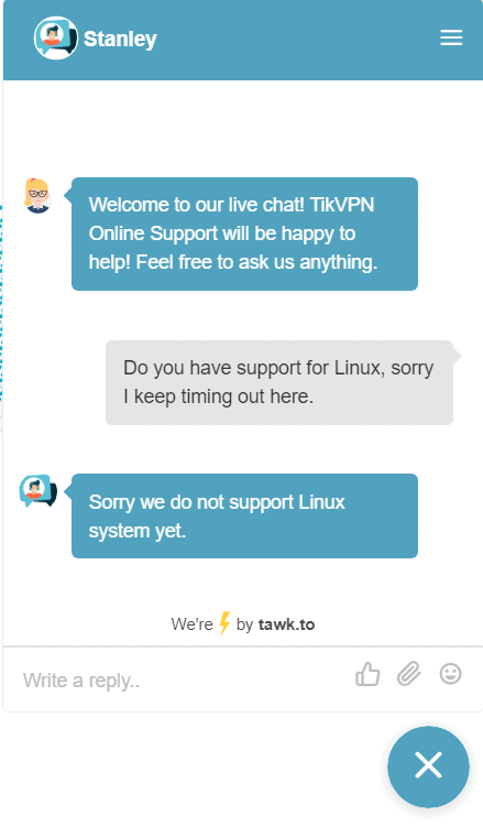 Live chat support TikVPN