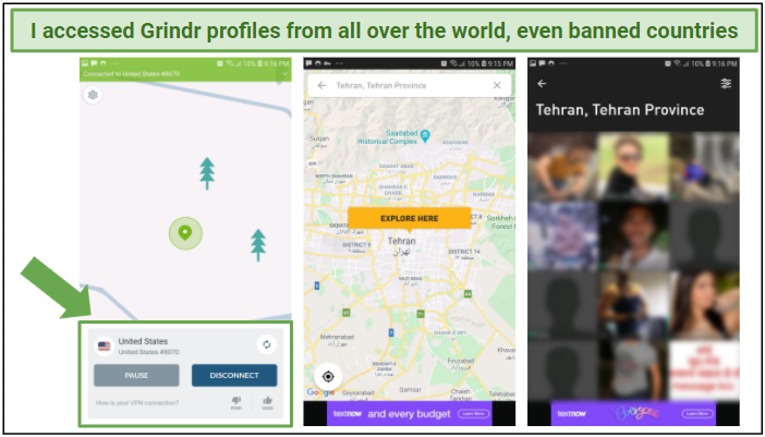 Graphic showing how connecting to a US server allowed access to Grindr profiles in Iran