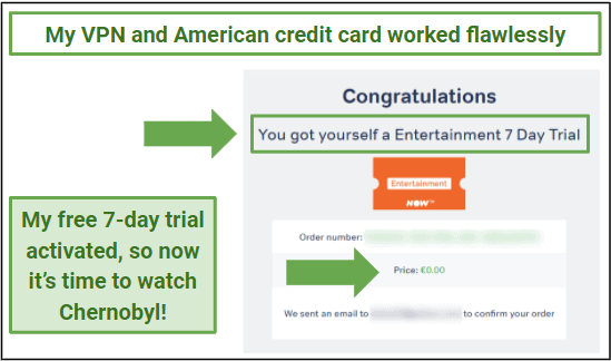 Graphic showing that a free trial to NOW TV has been activated