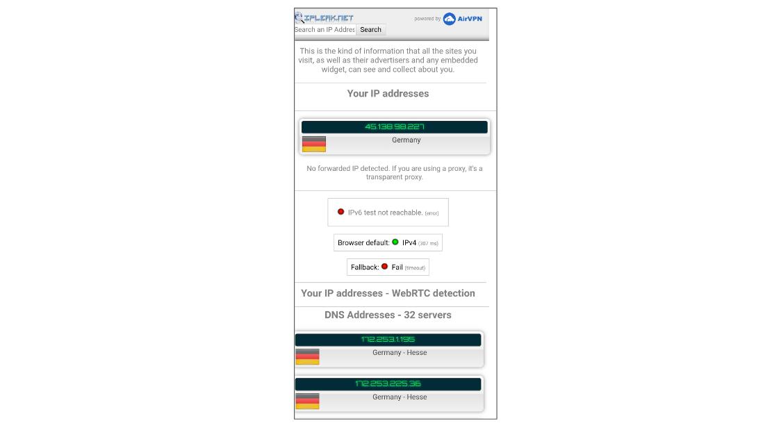 DNS leak test WideVPN