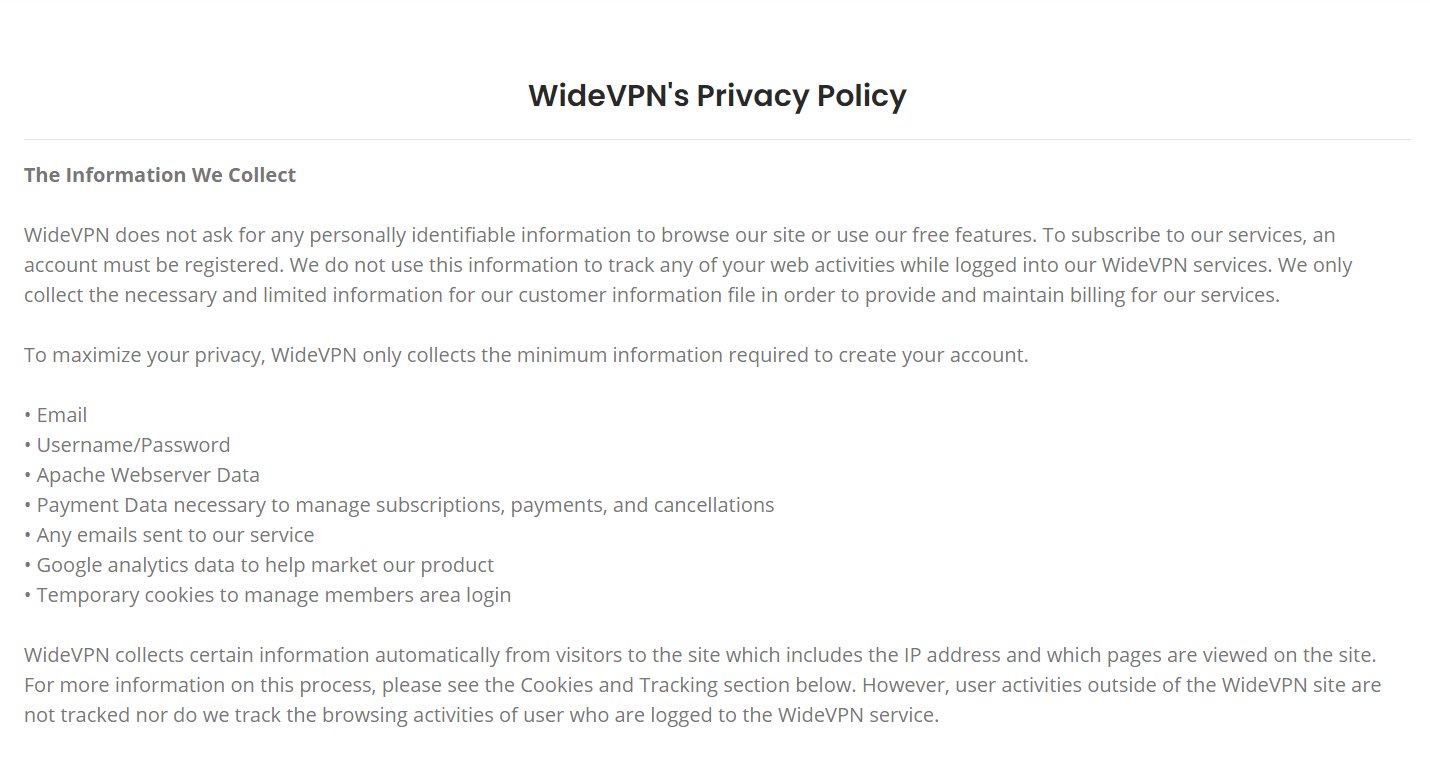 WideVPN Privacy Policy
