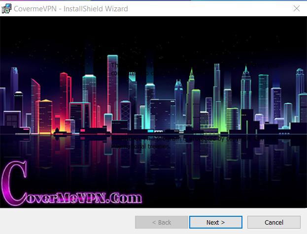 Install window for CoverMeVPN