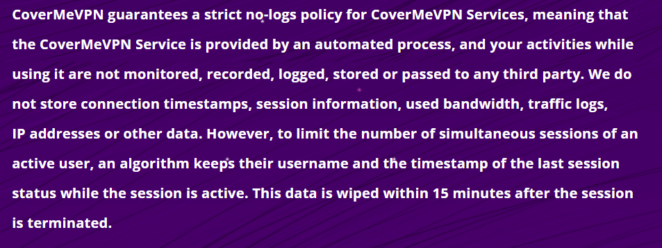CoverMeVPN logs policy