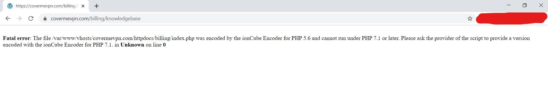 CoverMeVPN knowlegebase error