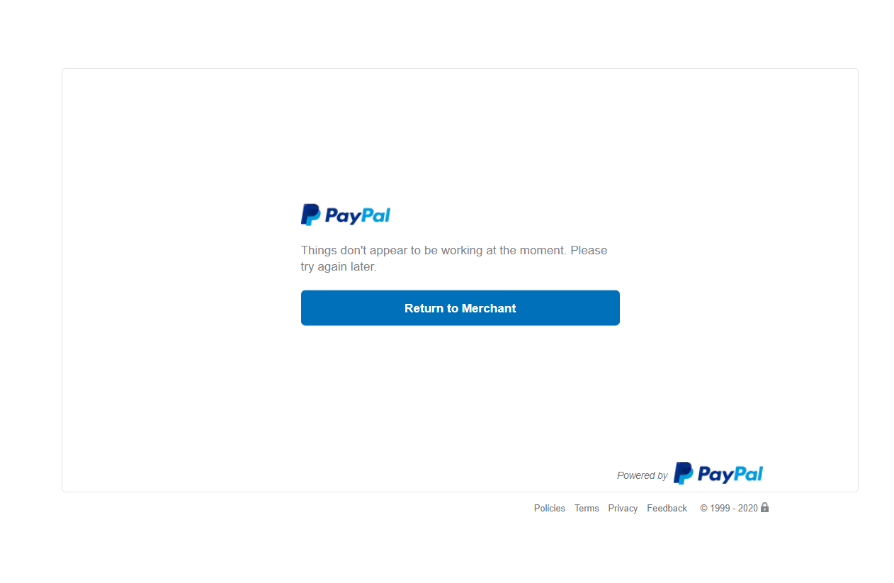 Error CoverMeVPN PayPal