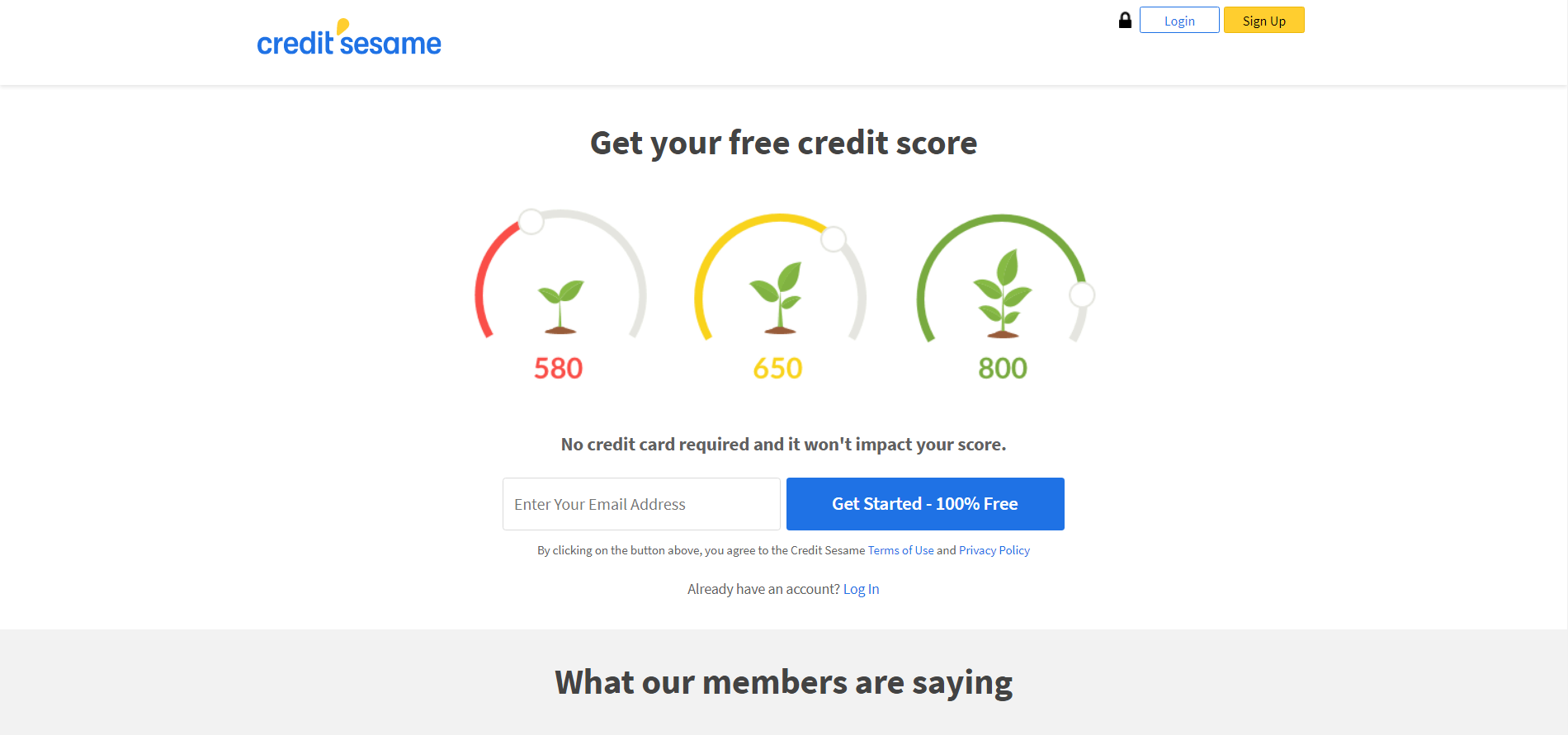 A screenshot of the Credit Sesame website homepage.