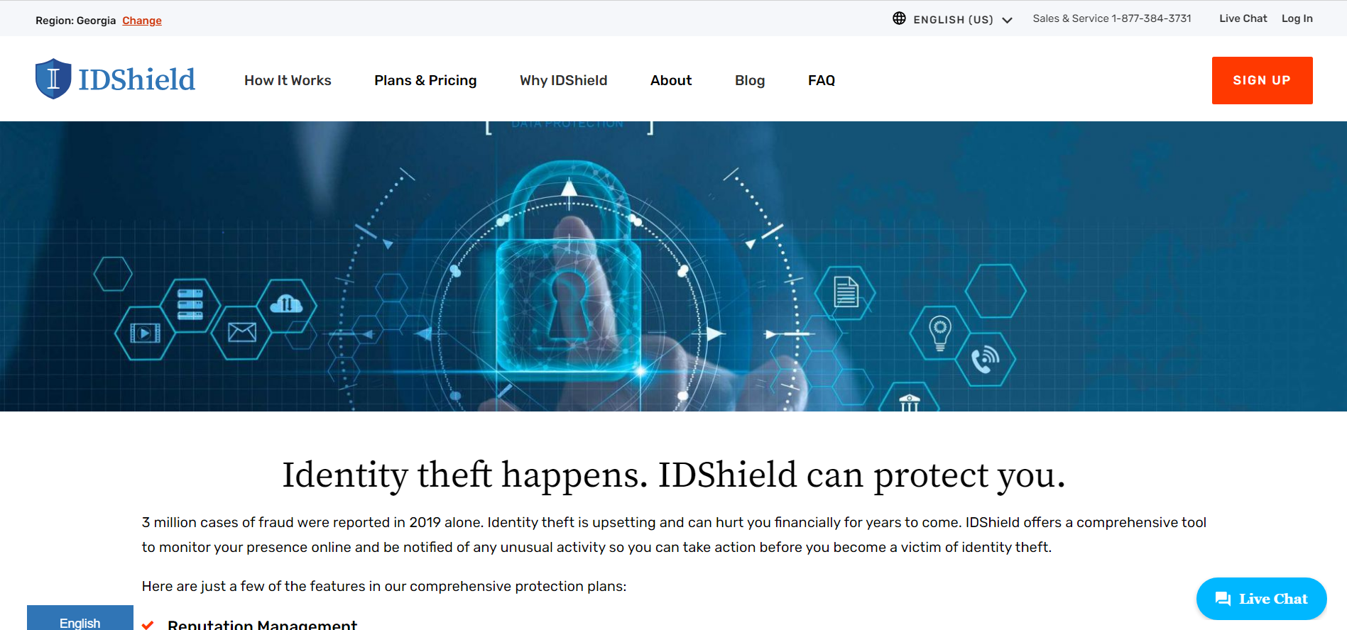 A screenshot of the IDShield website homepage.