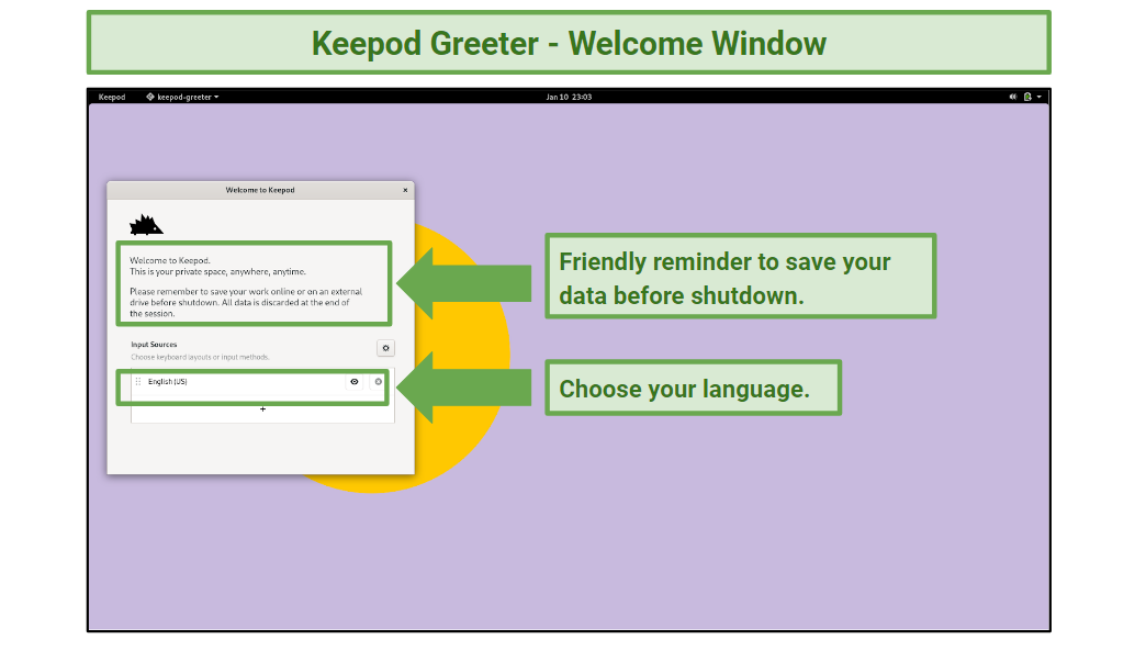 A screenshot of the initial welcome to Keepod after the OS loads.