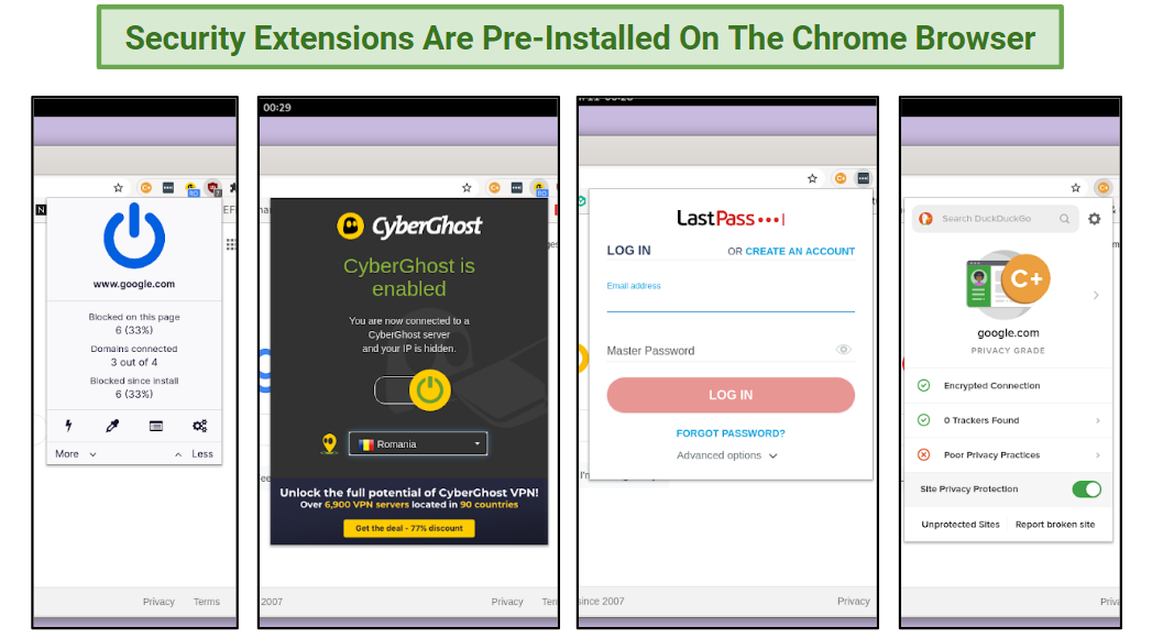 A screenshot of some of the browser extensions pre-installed on Chrome.