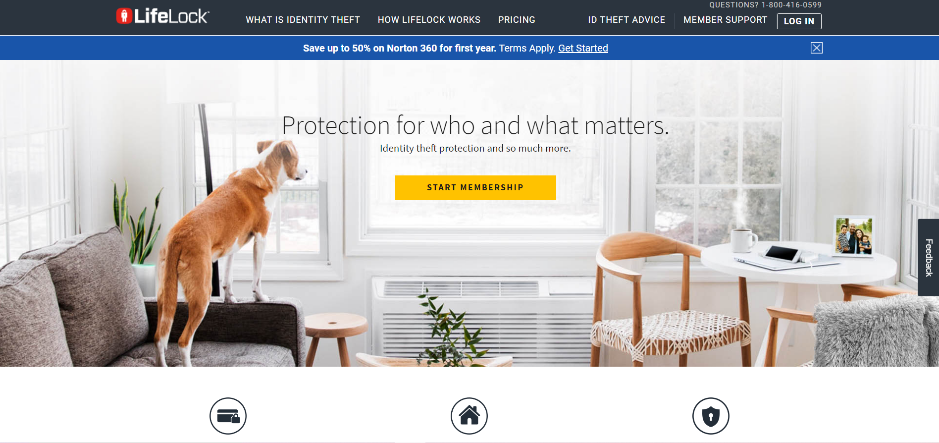 A screenshot of the LifeLock website homepage.
