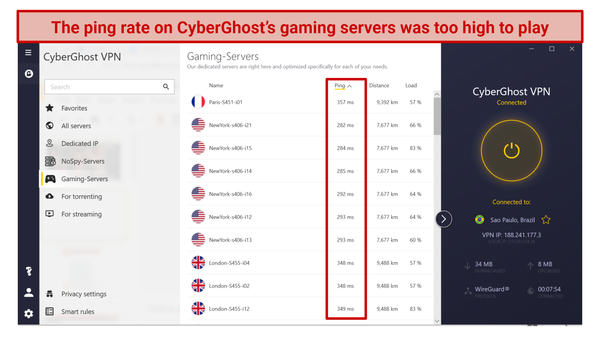 A screenshot of CyberGhost's gaming servers showing a high ping rate.