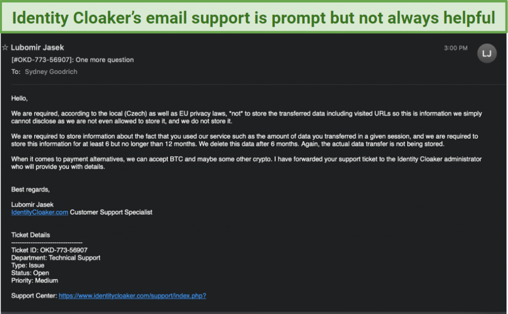 A screenshot of a customer support email from Identity Cloaker.