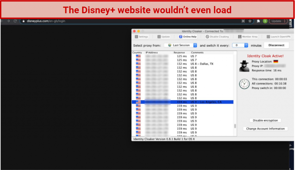 A screenshot of Identity Cloaker's app over the Disney+ website, showing that the VPN can't unblock the streaming service