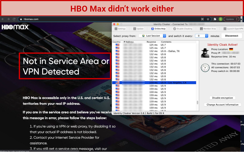 A screenshot of Identity Cloaker VPN overlaid on HBO Max's website. The website shows HBO's