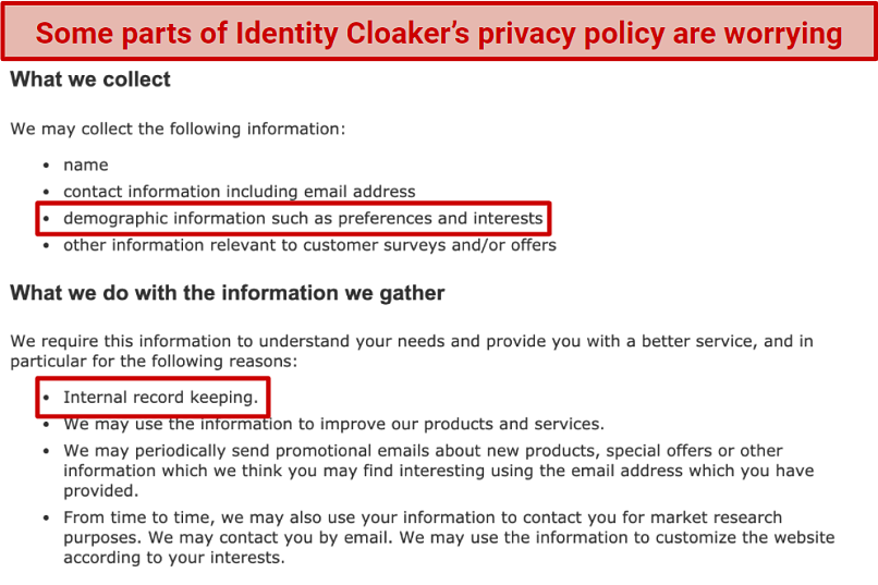 A screenshot of Identity Cloaker's privacy policy, with some worrying terms highlighted.