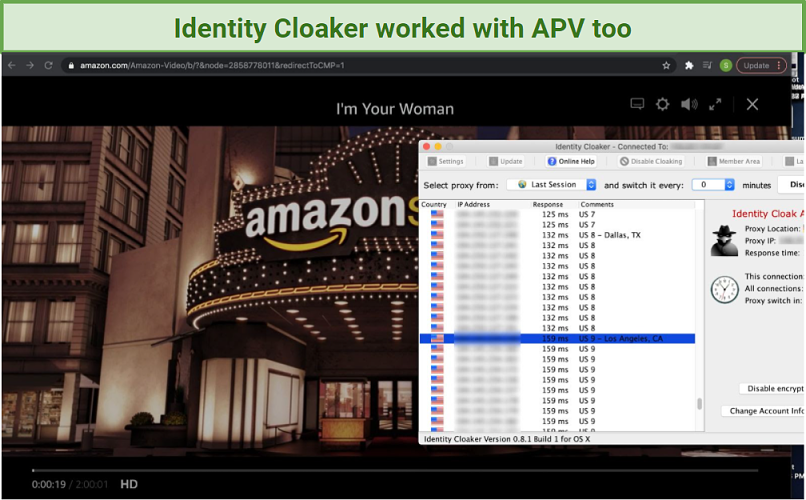 A screenshot of Identity Cloaker unblocking Amazon Prime Video, with I'm Your Woman playing in the background.