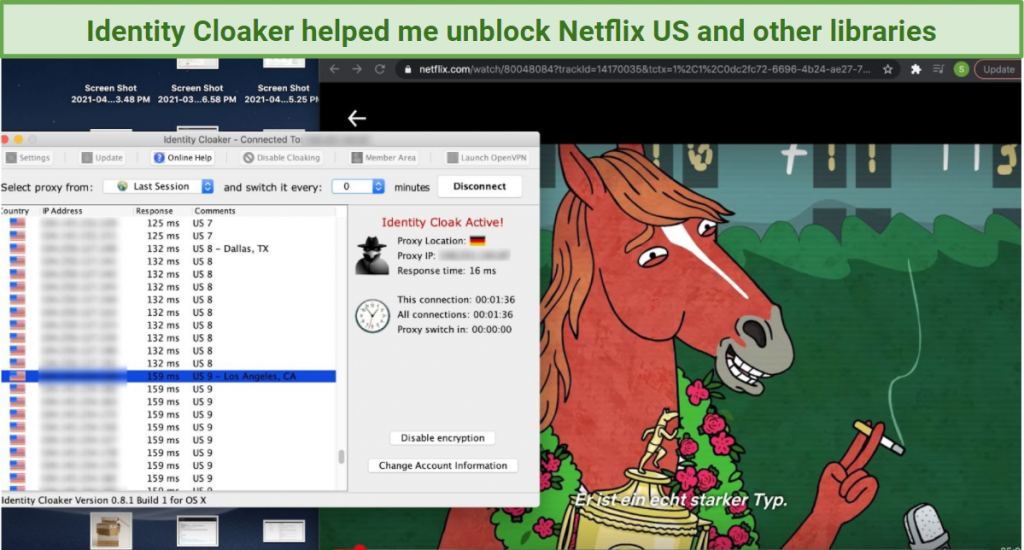 A screenshot showing an Identity Cloaker US server unblocking Netflix US, with Bojack Horseman playing in the background.