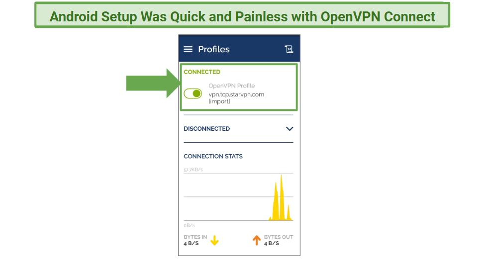 A screenshot of StarVPN.com through OpenVPN Connect.