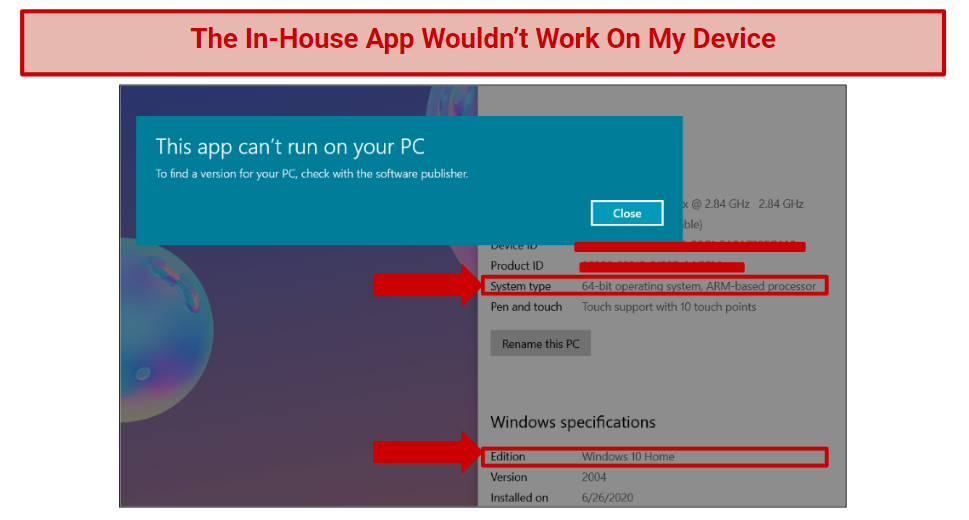 A screenshot of the app error message next to a confirmation of the 64-bit Windows 10 operating system on my device.