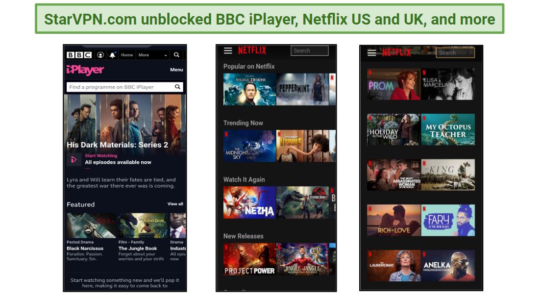 StarVPN.com unblocks popular streaming services.