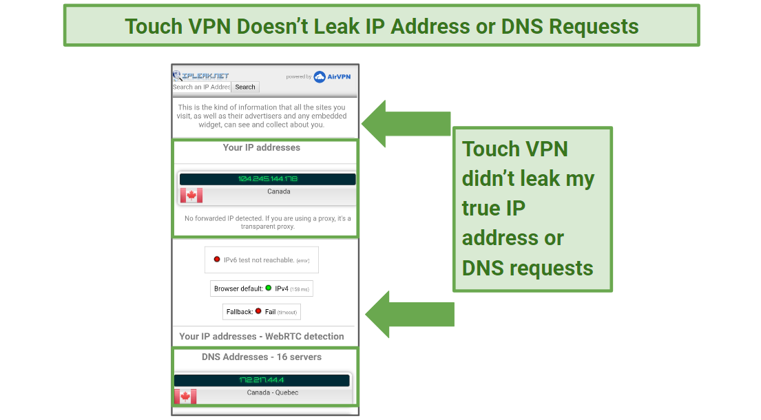 A screenshot of the IP/DNS leak test performed on a Canadian server for Touch VPN.