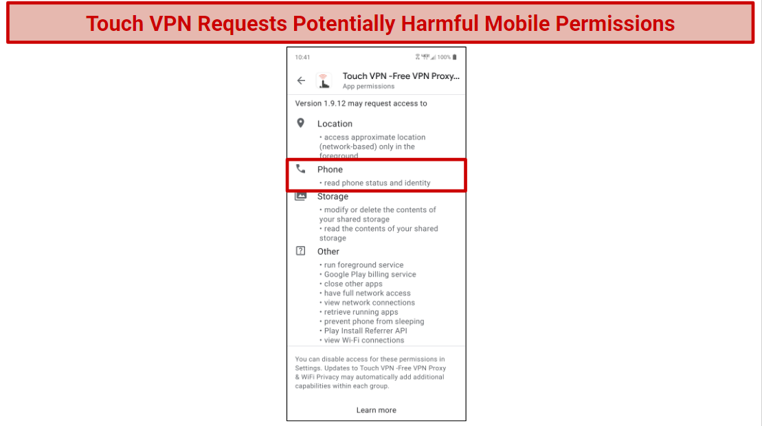 A screenshot of Touch VPNs mobile app permissions requests.