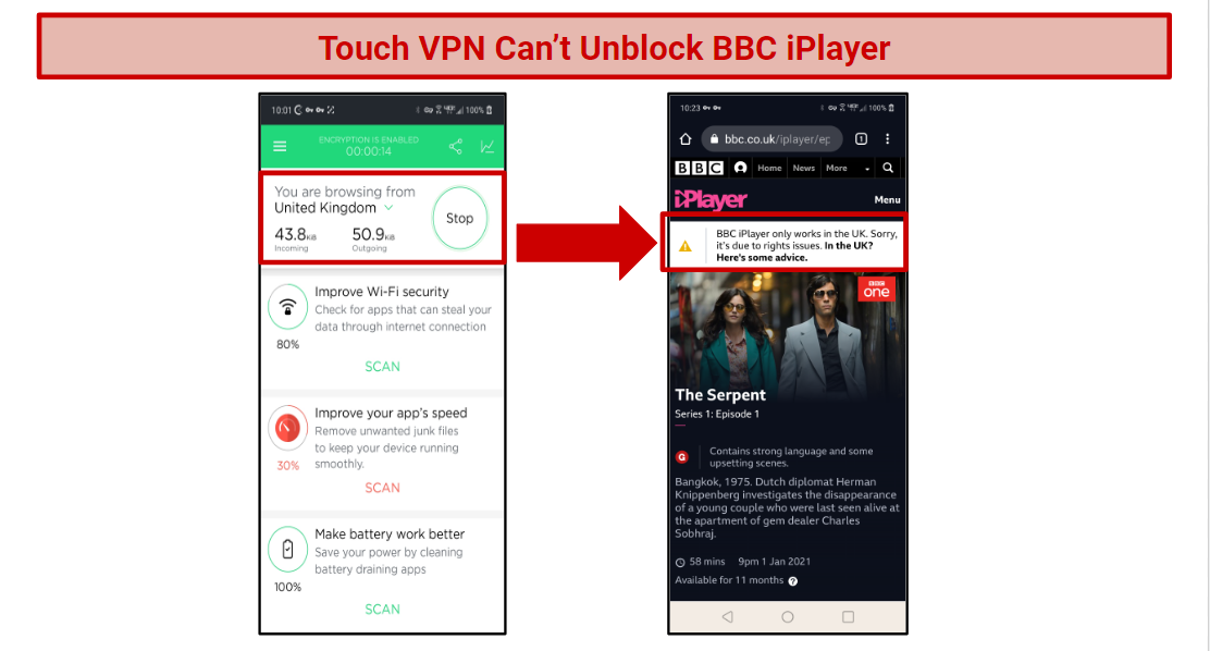 A screenshot of a UK connected server and an attempt to access BBC iPlayer.