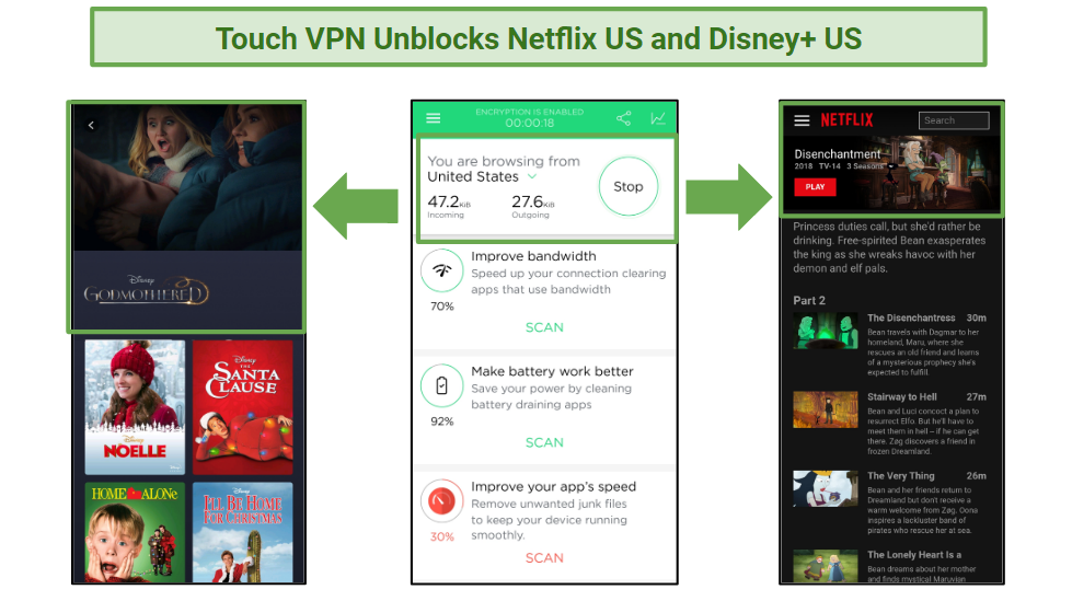 A screenshot of a connection to a Thunder VPN US server, and access to Netflix and Disney+ US.