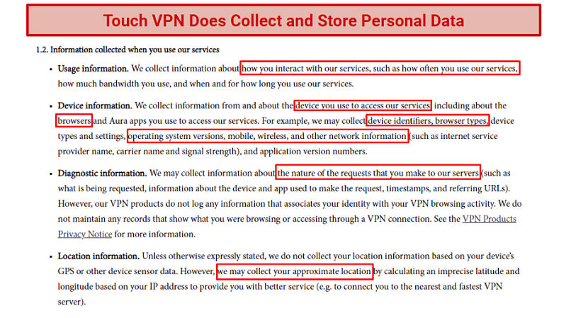A screenshot of a snippet of Touch VPNs privacy policy.