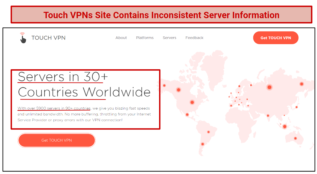 A screenshot of Touch VPNs website, that displays inconsistencies in its server count.