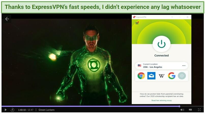 Graphic showing Green Lantern on ExpressVPN