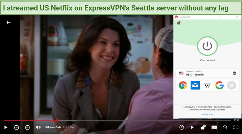Graphic showing Netflix on ExpressVPN