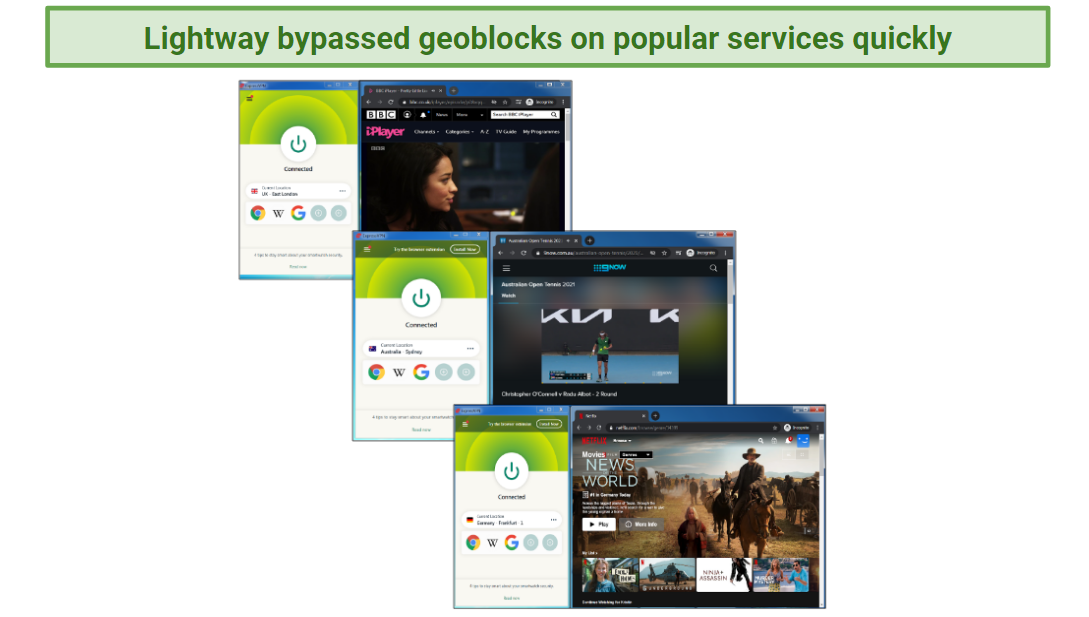 A screenshot of services unblocked by ExpressVPN while using Lightway.