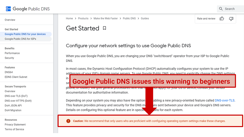 Graphic showing a warning on Google Public DNS