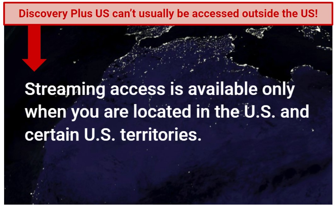 Screenshot of the error screen for Discovery Plus US, with text highlighting the need for a VPN